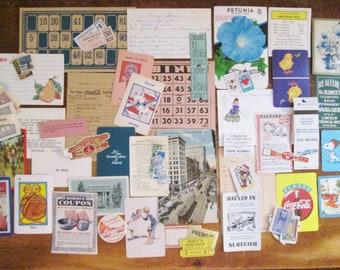Vintage Paper Ephemera Pack 50 Piece Grab Bag of Small Vintage Embellishments Game Cards Stamps Tickets Collage Junk Journal Ephemera
