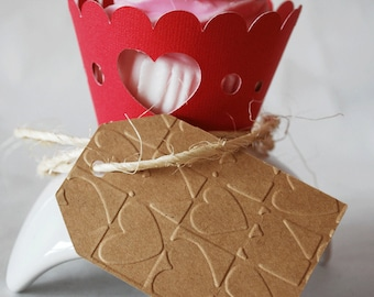 Embossed Valentines Day Heart Gift Tags