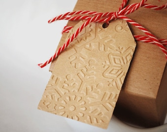 Embossed Holiday Gift Tags SnowFlake Winter Bird Dots