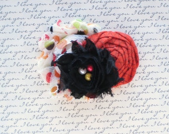 Black, Burnt Orange and White Shabby Chiffon Newborn Headband, Baby Headband, Girls Headband,Teen Headband, Adult Hair Clip, Photo Prop!