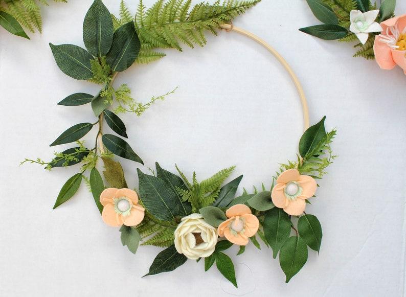 Bohemian Tropical Bamboo Wood Rings Design Suite Wool Felt Flower Baby Shower Gift Dreamcatcher Wreath Nursery Decor Wall Decor Room sale