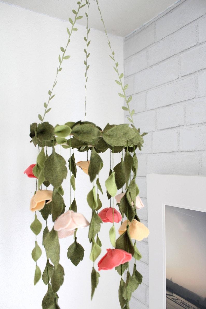 Baby Girl Crib Mobile Floral Nursery Wool Felt Flower ...