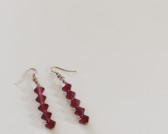 Burgundy Swarovski Drop Earrings