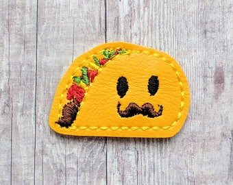 Senor Taco Accessory, Yellow Vinyl with Embroidered Face, Choose Headband, Pin, Band, Hair Clip, Ponytail, Shoe Clip, Barrette, Magnet