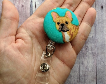French Bulldog Badge Clip ID Holder, on Aqua Cotton, Choice of Clip Styles, Made in USA, Retractable Dog Badge Reel, Dog Badge Reel