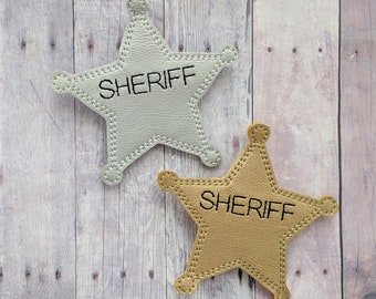 Pretend Sheriff Badge, Silver or Gold Vinyl with Pin Back, For Halloween Costume and Dress Up Play, Cosplay, Photo Prop, Made in USA