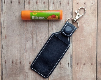 Lip Balm Case, Vinyl in Your Choice of 37 Colors with Snap-On Swivel Clip, Clips to Bag or Key Chain, Also Holds Flash Drive, Made in USA