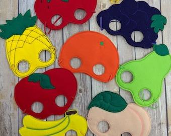 Fruit Felt Mask, Choose from 9 Fruits, Acrylic Felt with Embroidery, One Size, Elastic Back, Halloween Costume, Photo Booth Prop, Fruit Mask