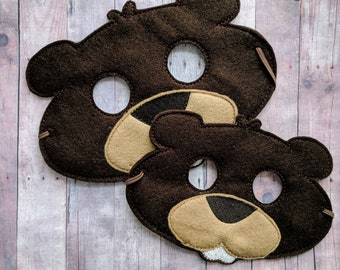 Beaver Felt Mask in Choice of 2 Sizes, Brown Acrylic Felt with Embroidery, Elastic Back, Costume, Dress Up Animal Mask, Photo Booth Prop