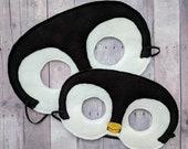 Penguin Felt Mask in 2 Sizes, Black White Acrylic Felt, Elastic Back, Halloween Costume, Dress Up Animal Mask, Photo Booth Prop