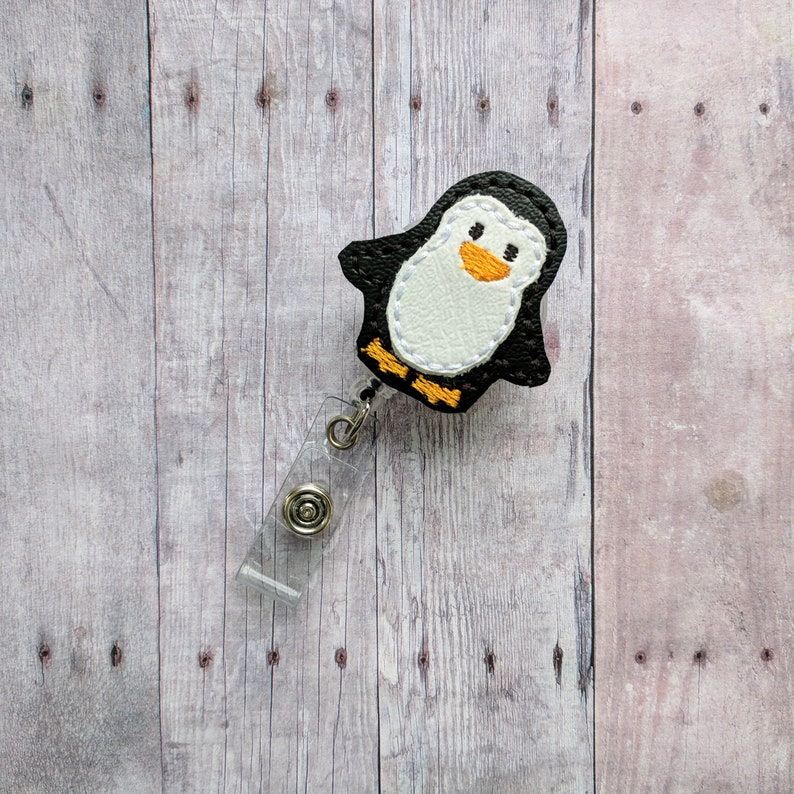 Penguin Badge Clip ID Holder White and Black Embroidered image 0