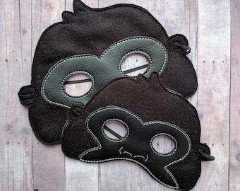 Gorilla Felt and Vinyl Mask in Choice of 2 Sizes, Black Acrylic Felt and Black Vinyl, Elastic Back, Halloween Costume, Dress Up, Photo Booth