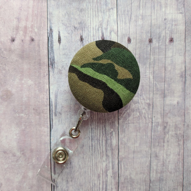 Camo Print Badge Clip ID Holder Camouflage Print Cotton image 0