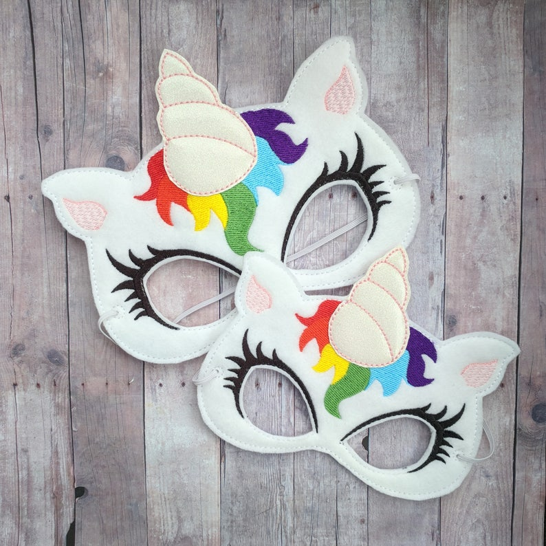 Unicorn Felt Mask in Choice of 2 Sizes Rainbow Embroidery and image 0