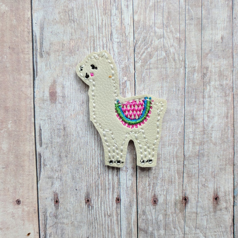 Llama Accessory Ivory Embroidered Vinyl with Choice of image 0