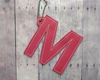 Monogram Bag Charm, Embroidered Matte or Glitter Vinyl in Your Choice of 38 Colors, Hang on Bag, Backpack, Planner, Zipper, Label Items