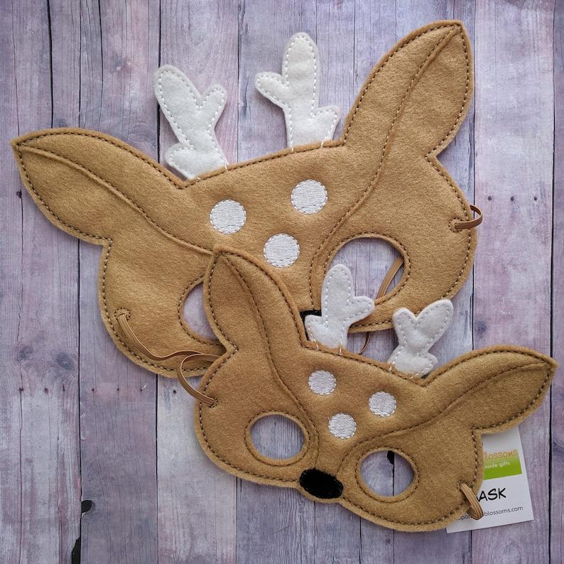 Deer Felt Mask in 2 Sizes Beige and White Acrylic Felt image 0