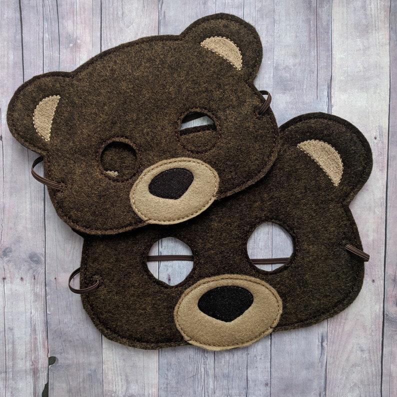 Teddy Bear Felt Mask in 2 Sizes Brown Acrylic Felt and Tan image 0