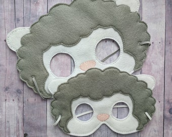 Sheep Felt Mask in Choice of 2 Sizes, Gray and White Acrylic Felt, Elastic Back, Halloween Costume, Dress Up Animal Mask, Photo Booth Prop