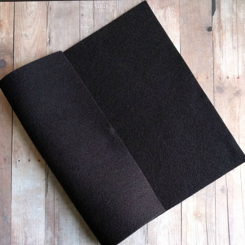 Black Acrylic Felt Sheets or Circles High Quality Made in 5 Sheet Pack