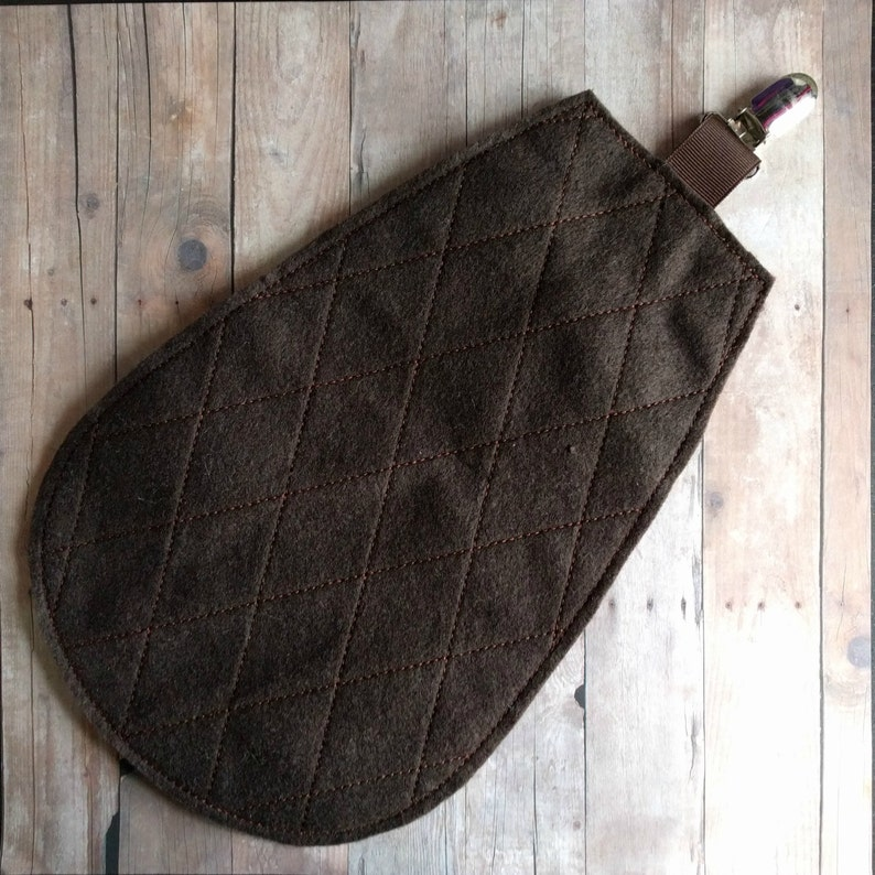 Clip On Beaver Tail in 4 Sizes Brown Felt with Metal Clip image 0