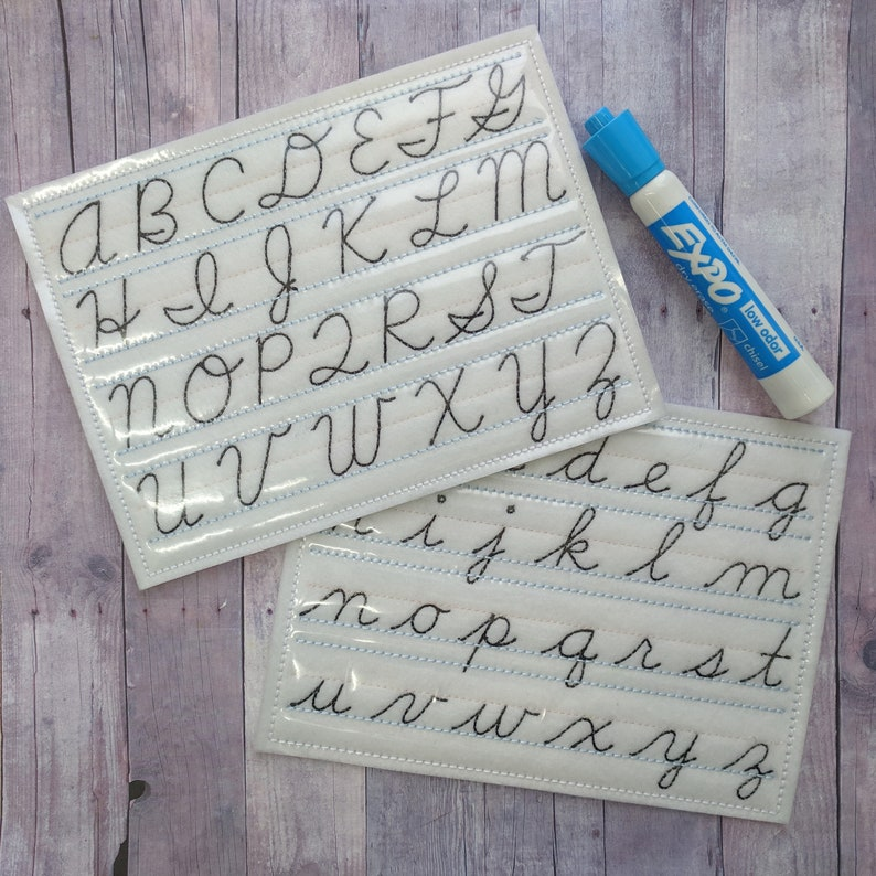Dry Erase Cursive Writing Board Embroidered Acrylic Felt with image 0