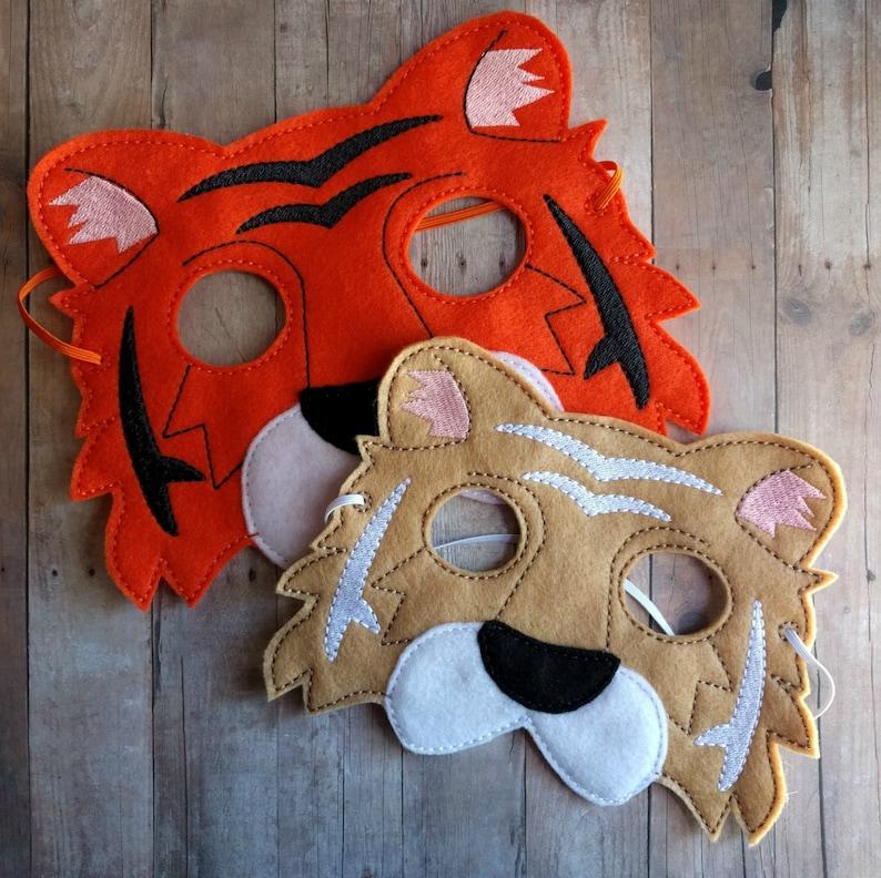 Tiger Felt Mask in 2 Sizes Beige or Orange Acrylic Felt image 0