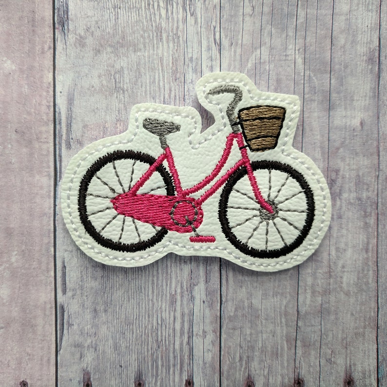 Beach Cruiser Bike Accessory Pink or Blue Embroidered Vinyl Pink