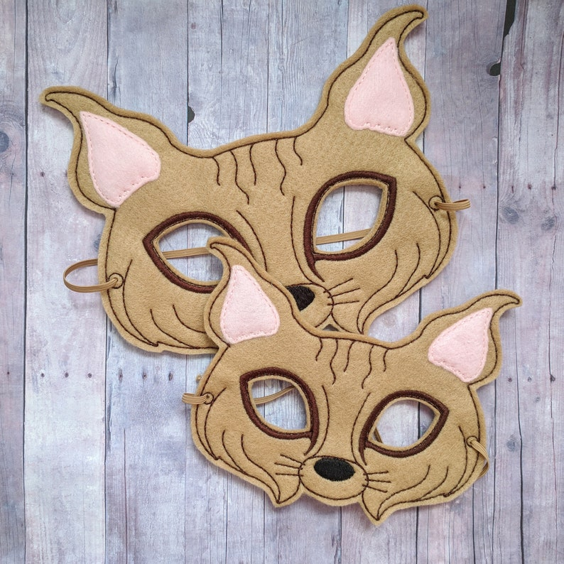 Bobcat Felt Mask in Choice of 2 Sizes Embroidered Beige image 0
