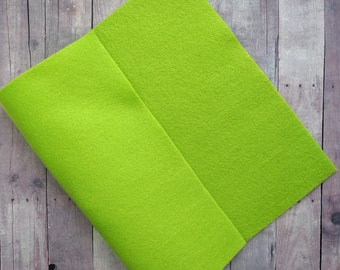 Lime Green Acrylic Felt Sheets or Circles, High Quality, Made in USA, Solid Felt, 5 9x12 Sheets or 30 Pack of 1 inch Circles, Quick Ship