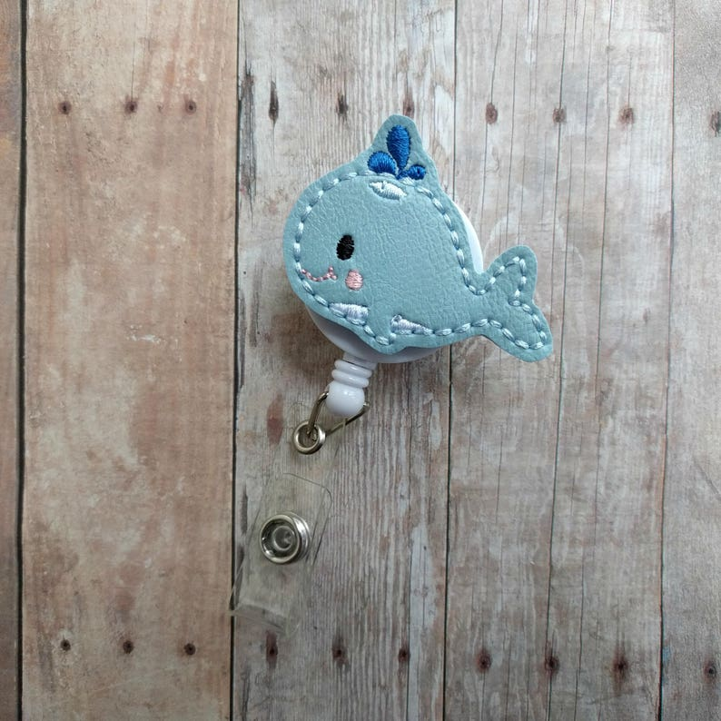 Whale Badge Clip ID Holder Choice of Clip Styles Light Blue image 0