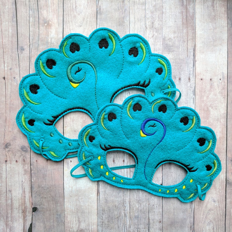 Peacock Felt Mask in 2 Sizes Teal Acrylic Felt with Colorful image 0