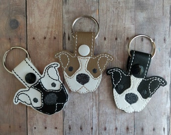Pit Bull Dog Key Chain, Embroidered White & Light Brown or Black Vinyl With Snap, Made in USA, Animal Lover Key Ring, Rescue Dog