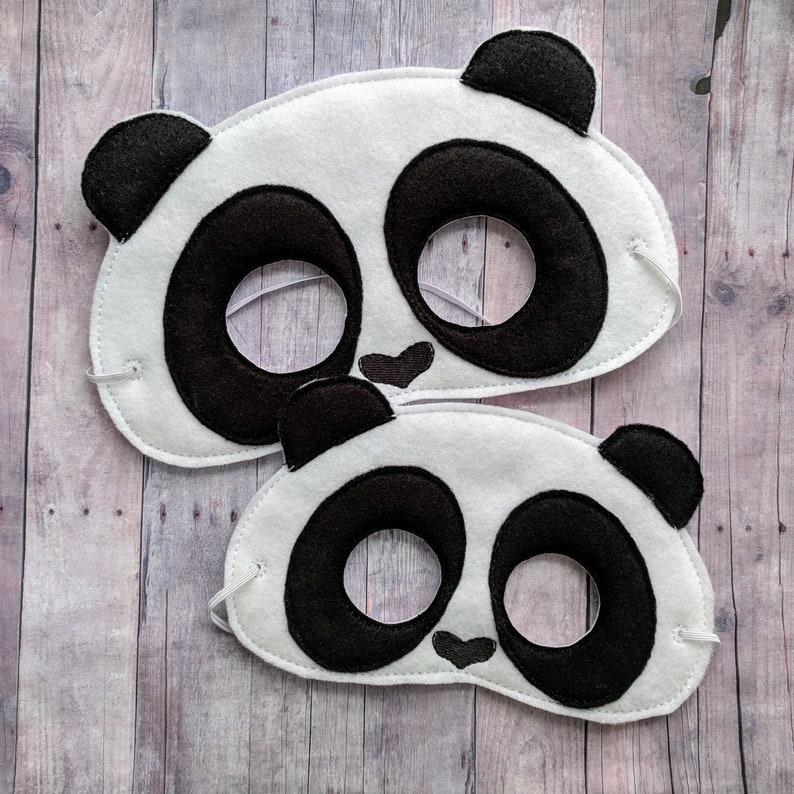 Panda Felt Mask in 2 Sizes Black and White Acrylic Felt image 0