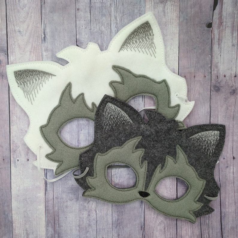 Wolf Felt Mask in Choice of 2 Sizes Gray or White Embroidered image 0