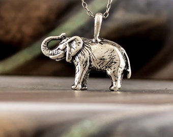 Elephant pewter pendant Mens boys womens girls necklace 30mm wide P0579