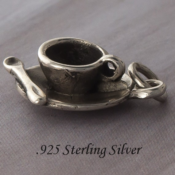 Sterling Silver 3D Kitchen Tea Cup And Saucer Charm