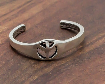Peace Toe Ring : 925 Sterling Silver