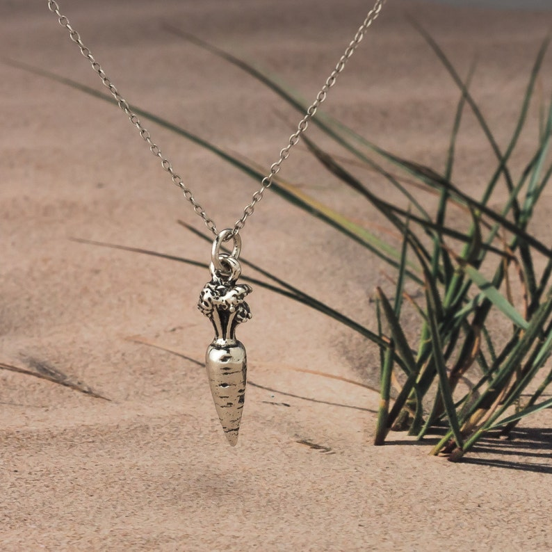Carrot .925 Sterling Silver 3D charm  Necklace