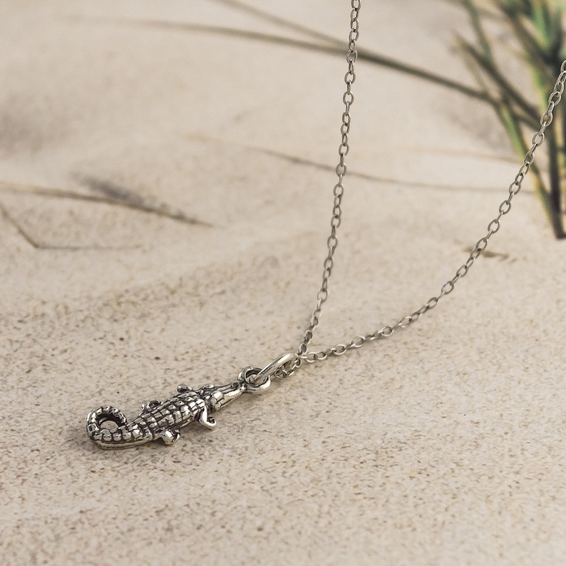 Small Alligator 925 Sterling Silver Charm  Necklace