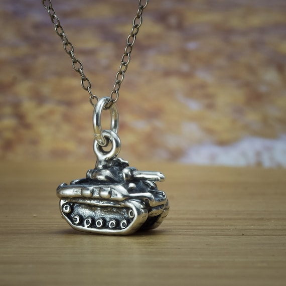 925 Sterling Silver Oxidized Military Tank Charm