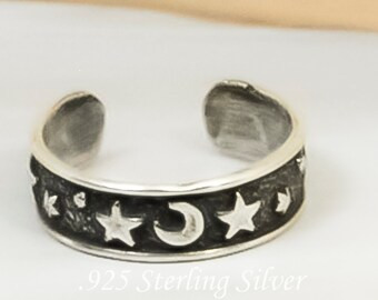Moon & Star Adjustable Toe Ring : 925 Sterling Silver ring - hand made jewelry