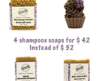 Set of 4 Hair Soap / Solid Shampoos