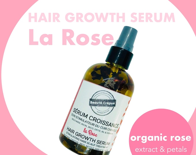 Hair Growth Serum with Rose Extract Scalp Treatment - Jamaican Black Castor Oil, Mustard Oil, Nard Oil, Nettle, Garlic, Onion