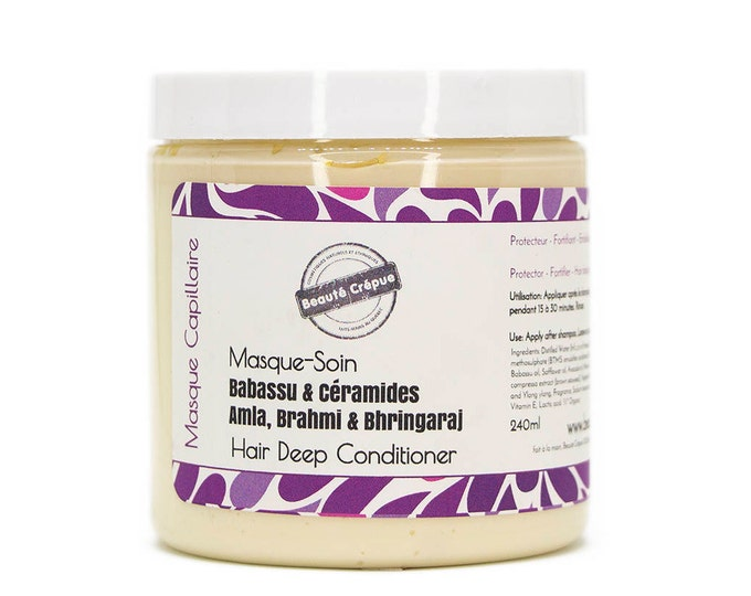 Deep Conditioner with Babassu Oil Amla Brahmi Bhringraj Horsetail Marshmallow and Ceramide - Moisturize, strengthen and protect hair -240ml