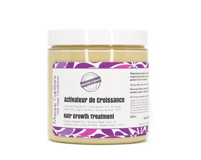 Hair Growth Treatment Masque: with Jamaican Black Castor Oil, Mustard Oil, Brewer's Yeast, MSM, Garlic, Onion & Nettle Extracts - 240ml