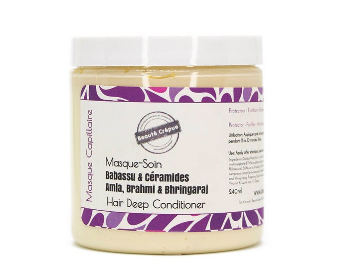Deep Conditioner with Babassu Amla Brahmi Bhringaraj Horsetail Marshmallow Ceramides - Moisturize Strengthen Protect - 60ml | Travel Size
