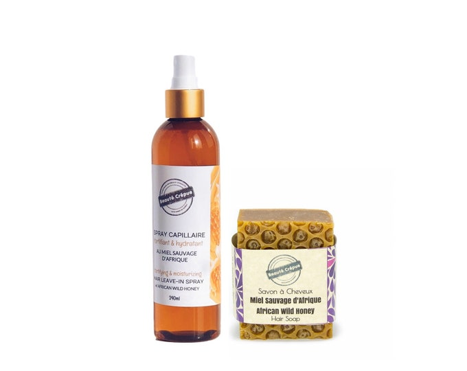 Duo African Wild Honey Hair Leave-in Spray and Solid Shampoo - Dry or Damaged hair