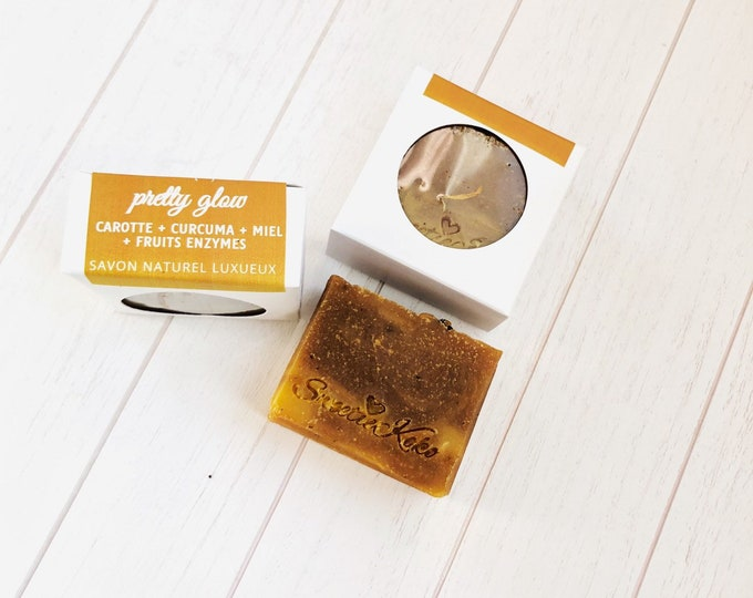 Glow soap - Carrot, Tumeric, Honey and Fruits Enzymes - Shea Butter and Essential Oil Soap - 145g