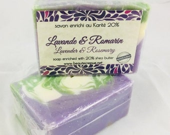 BLACK FRODAY SALE Lavender & Rosemary - Soap with Shea Butter and Lavender and Rosemary  Essential Oil195g